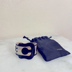 FENDI Vintage Buckle Belt Cuff Bangle Bracelet